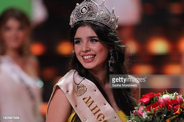 Student Elmira Abdrzakova from the Siberian town of Mezhdurechensk is crowned as Miss Russia 2013 during the Miss Russia 2013 Pageant on March 2 2013...