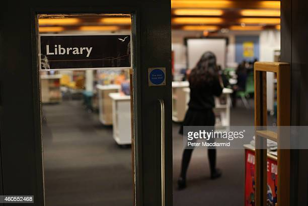 A student enters the library at a secondary school on December 1 2014 in London England Education funding is expected to be an issue in the general...