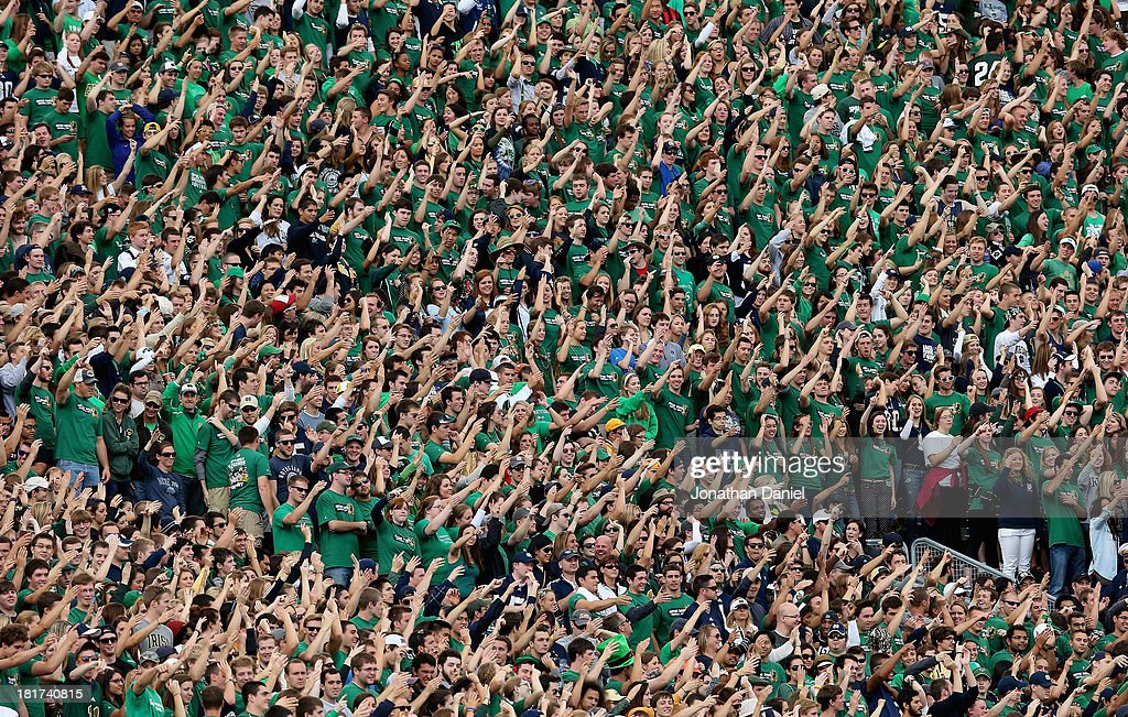 Student fans of the Notre Dame Fighting Irish are seen during a game against the Michigan State Spartans at Notre Dame Stadium on September 21, 2013 in South Bend, Indiana. Notre Dame defeated Michigan State 17-13.