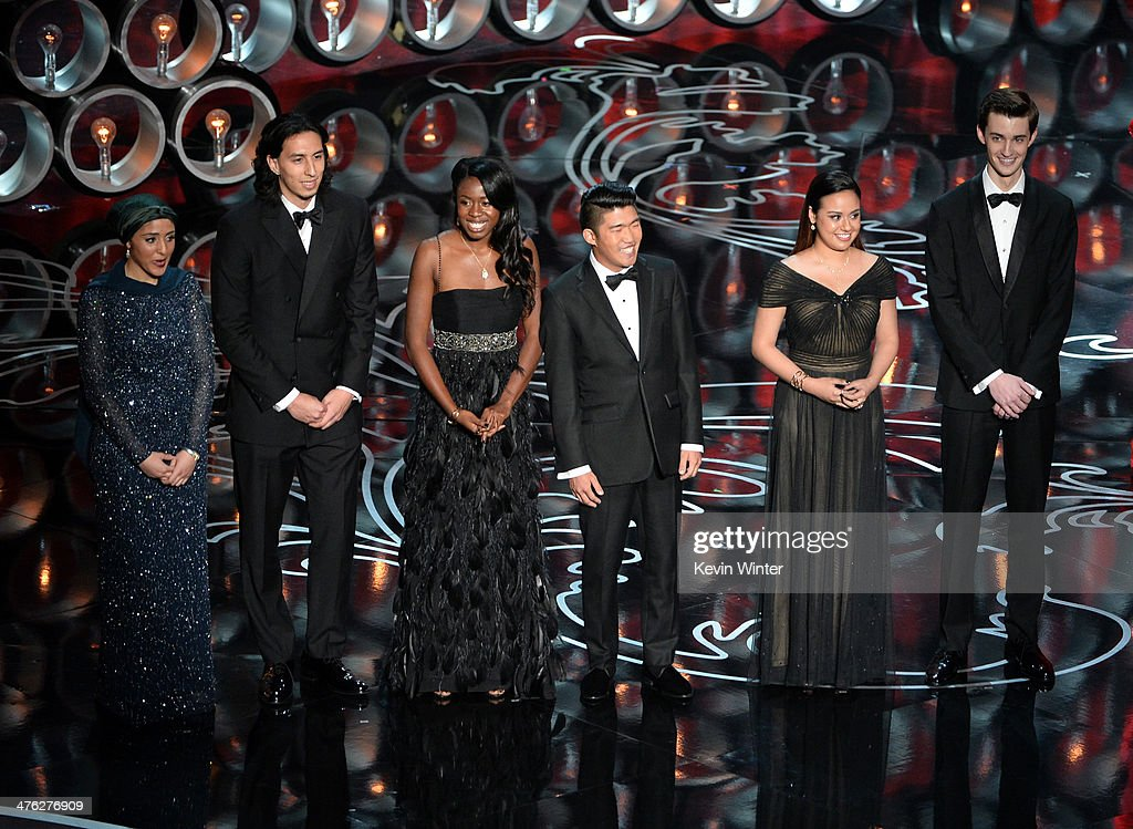 Student filmmakers Zaineb AbdulNabi Jean Paul Isaacs Tayo Amos Nathan FlanaganFrankl Mackenna Millet and Bryson Kemp speak onstage during the Oscars...