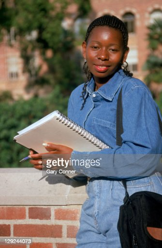 Student from Kenya studying on campus : Stock Photo