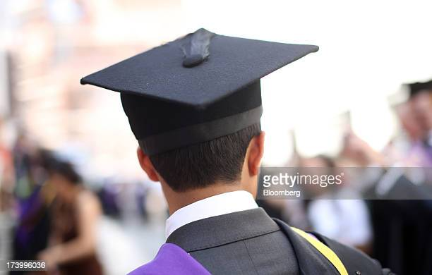 A student from the London School of Economics Political Science wears a mortar board during a ceremony for university graduates in London UK on July...