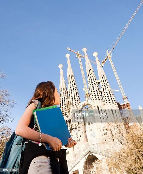 Student girl next to Sagrada Familia