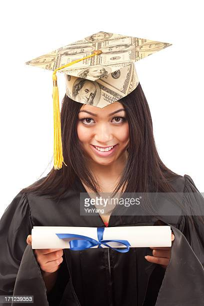 Student Graduate Happy about Financial Future Income on White Background