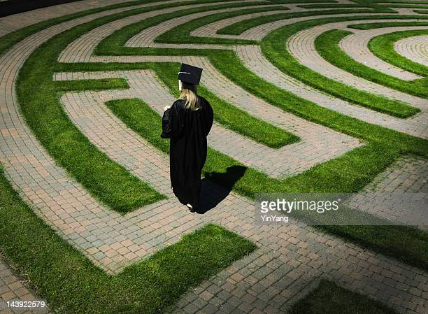 Student Graduate Walking Brick Maze Path, Searching, Seeking Future Employment