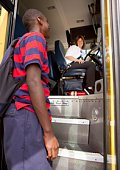 Student Greeting The School Bus Driver