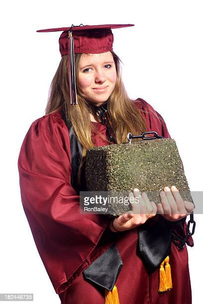 A student holding a heavy brick as debt