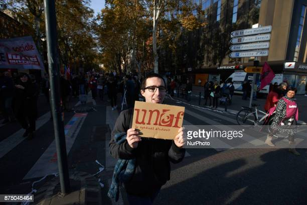 A student holds a placrd for the students' union UNEF More than 4000 protesters took to the streets of Toulouse against the new Macron's reforms on...
