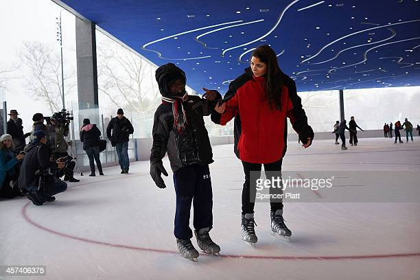 A student ice skates at the new Samuel J and Ethel LeFrak Center at Lakeside at Prospect Park on December 17 2013 in the Brooklyn borough of New York...