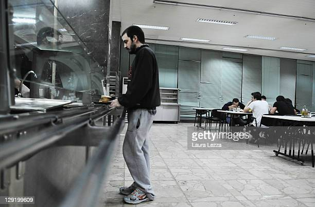 A student is seen in the canteen inside the EIN Insitute on October 13 2011 in Athens GreeceThe Institute hosts over 265 students from all over...