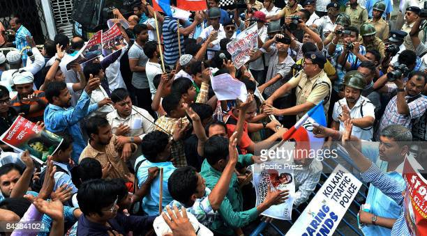 Student Islamic Organization and JamaateIslami Hind organize protest march against killing of Rohingya Muslims towards Myanmar Consulate...