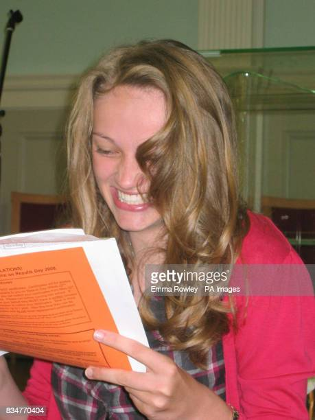Student Isobel Cafferty receives her GCSE results at the King Edward VI Handsworth School in Birmingham