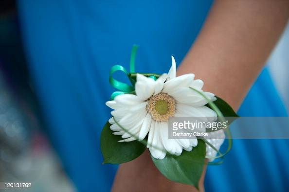 Student Jessica Rutherford wears a corsage given to her by her date before the school prom on July 1 2011 in Newcastle United Kingdom After months of...