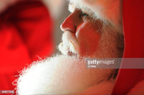 Student John Siebler of Fort White Florida dresses up as Santa Claus during the Charles W Howard Santa Claus School workshop on October 17 2008 in...