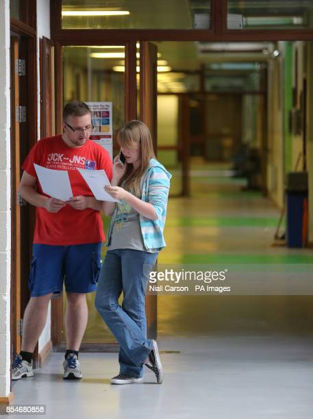 Student Kate McDonnell rings her parents wit her leaving certificate results at St Nessan's Community College Moylish Park Limerick