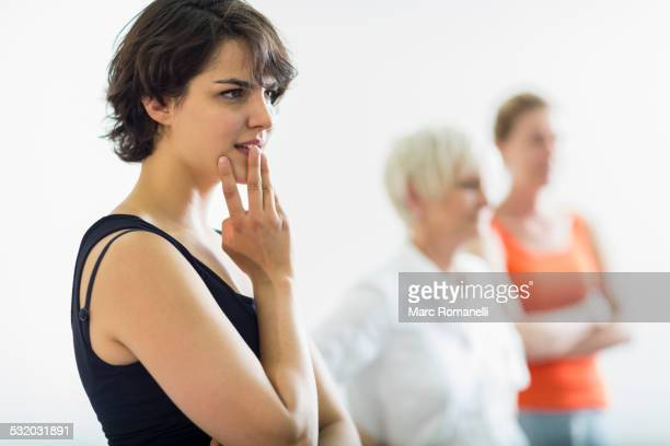 Student listening in acting class