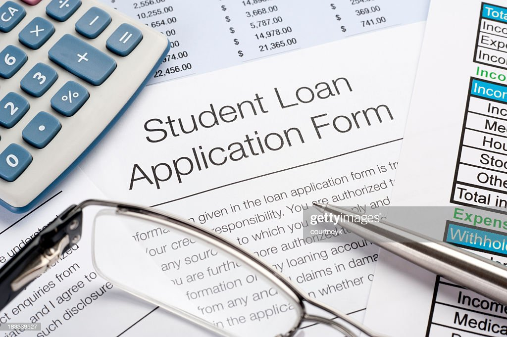Student Loan Application Form With Pen, Calculator : Stock Photo