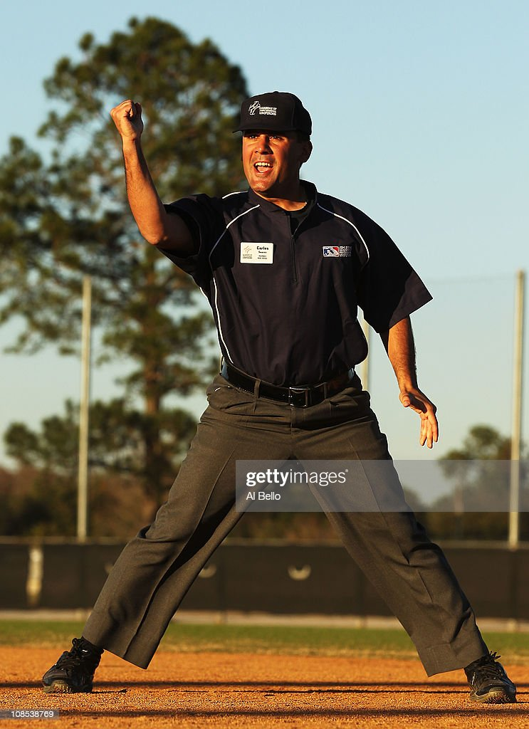 A student makes a call in a simulated baseball game during the Jim Evans Academy of Professional Umpiring on January 28, 2011 at the Houston Astros Spring Training Complex in Kissimmee, Florida. Jim Evans was a Major League Umpire for 28 years that included umpiring four World Series. Many of his students have gone on to work on all levels of baseball including the Major Leagues.