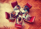 Student meeting in library - Teamwork