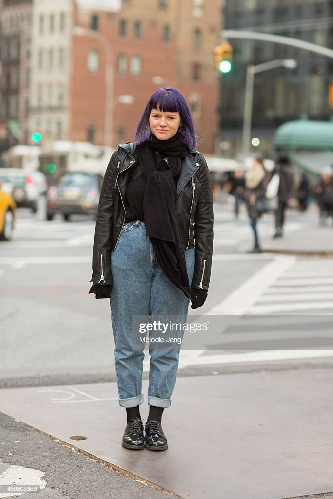 Student Morgan Hulquist wears a HM jacket and Misguided Boys oxford shoes at Astor Place on November 22 2014 in New York City
