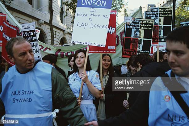 A student nurse taking part in a Nation Union of Students rally to protest against the scrapping of tuition fees London 25th November 1999