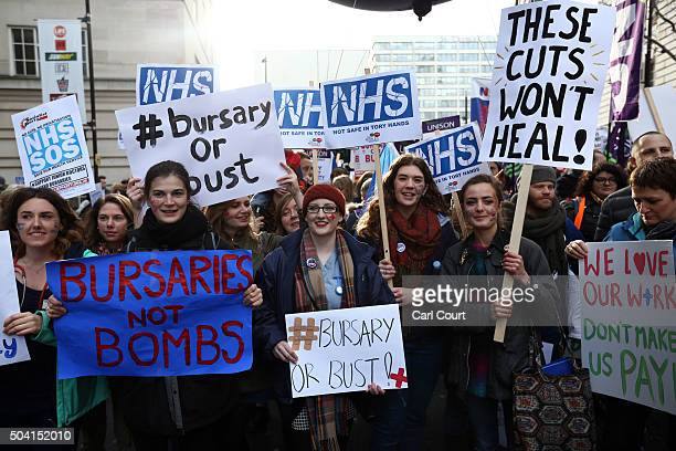 Student nurses and health workers take part in a demonstration against government plans to scrap the NHS bursary on January 9 2016 in London England...
