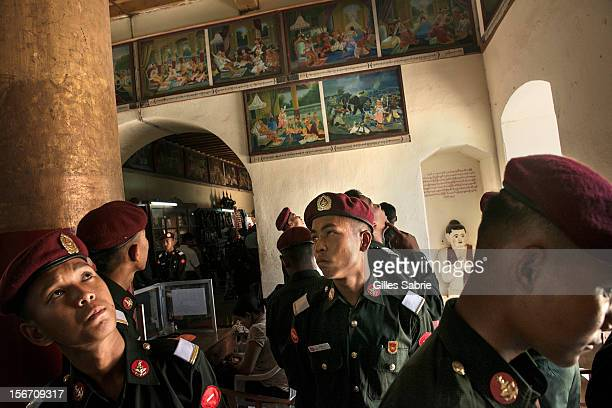Student officers from Monywa Military Academy on a tour in Bagan October 7 2012 Nicknamed Tatmadaw the Army of Myanmar ruled the country for decades...