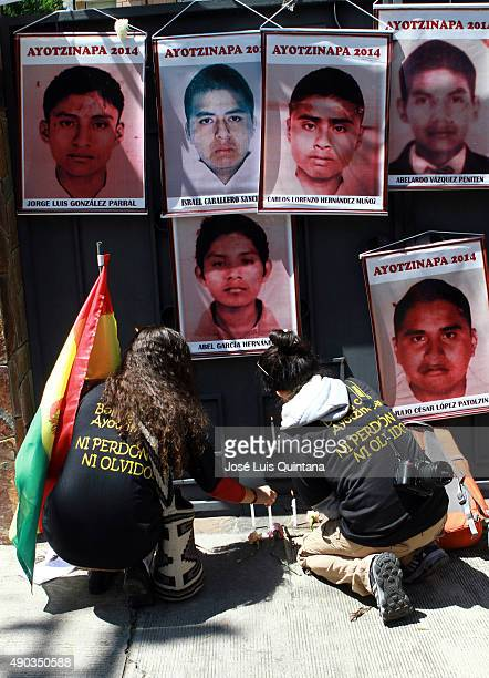 Student organizations march at the Embassy of Mexico to protest for the disappearance on September 26 2014 of 43 students in Ayotzinapa Mexico in La...
