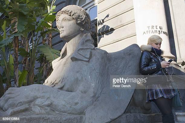 A student outside the Universita Degli Studi di Napoli 'Federico II' on Corso Umberto I in the centre of Naples Naples is a city on the west coast in...