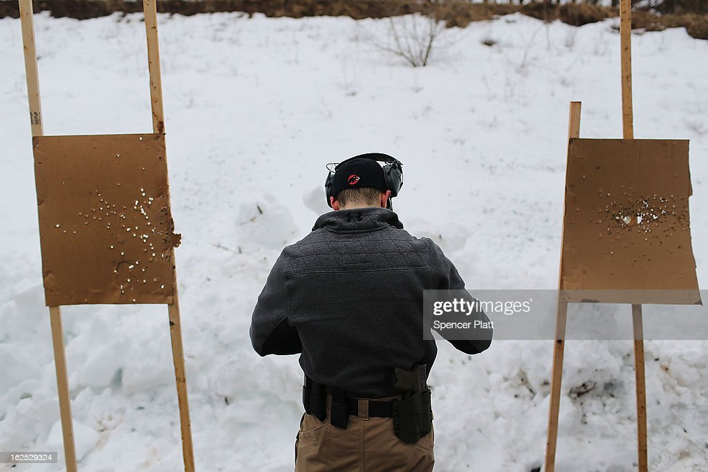 A student pauses near targets at a pistol class taught by King 33 Training at a shooting range on February 24, 2013 in Wallingford, Connecticut. King 33 Training, a company that trains and educates individuals on the safe and proper use of guns and other uses of protective force, offers classes to marksmen of all levels. The Connecticut company offers training for clients interested in maintaining a safe environment for themselves, their families, and those around them. Connecticut, home to a number of gun manufactures including Colt Defense, is a state with conflicting views on guns and gun ownership. Currently the state has some of the strictest gun control laws in the nation and its current governor Daniel Malloy is pushing for tougher measures following the shootings at the Sandy Hook School.