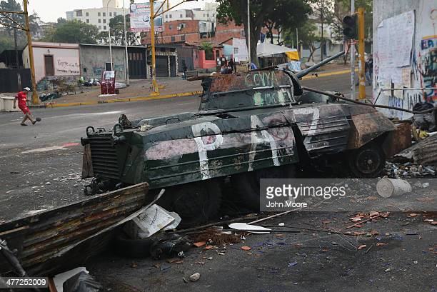 Student protesters play soccer while manning antigovernment barricades on March 8 2014 in San Cristobal the capital of Tachira state Venezuela...