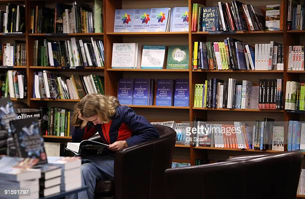 A student reads a book in Blackwell bookshop as Oxford University commences its academic year on October 8 2009 in Oxford England Oxford University...
