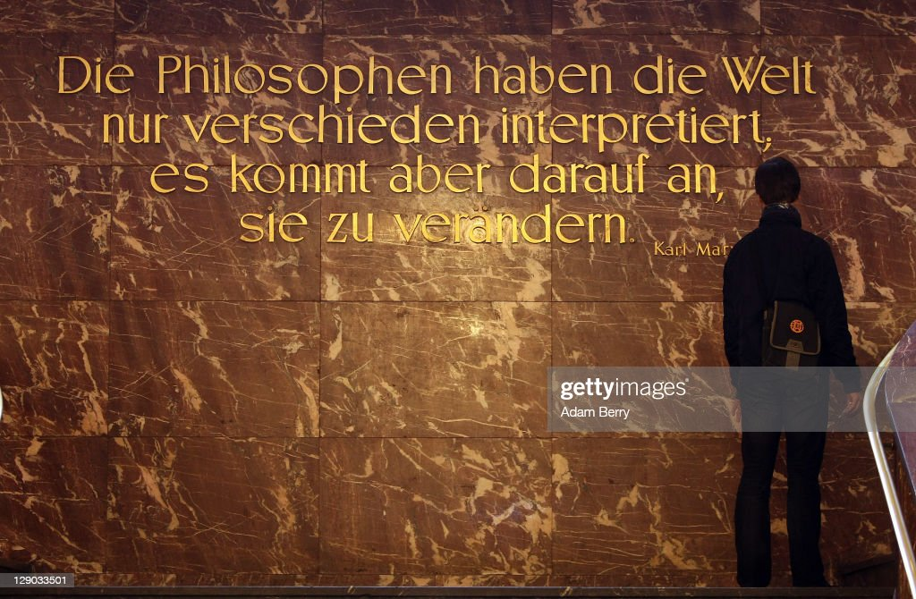 A student reads a quotation on the wall by Karl Marx at Humboldt University prior to the beginning of the semester on October 11, 2011 in Berlin, Germany. German universities recorded a record 2.218 million matriculations in the 2010/2011 winter semester, a rise of 4.5%, and expect even more students in the coming winter semester, which starts in October. The end of compulsory military service in the Bundeswehr, the German armed forces, which went into effect earlier this year, is a major contributing factor to the rise in the numbers of students arriving at universities across the country.