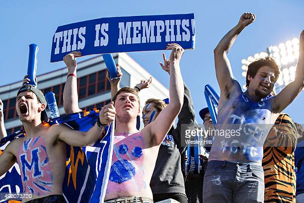 Student section of the Memphis Tigers celebrates after a touchdown during a game against the Ole Miss Rebels at Liberty Bowl Memorial Stadium on...