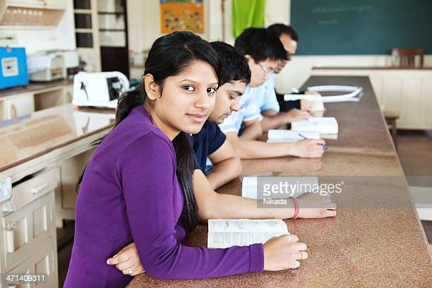 student sitting in classroom