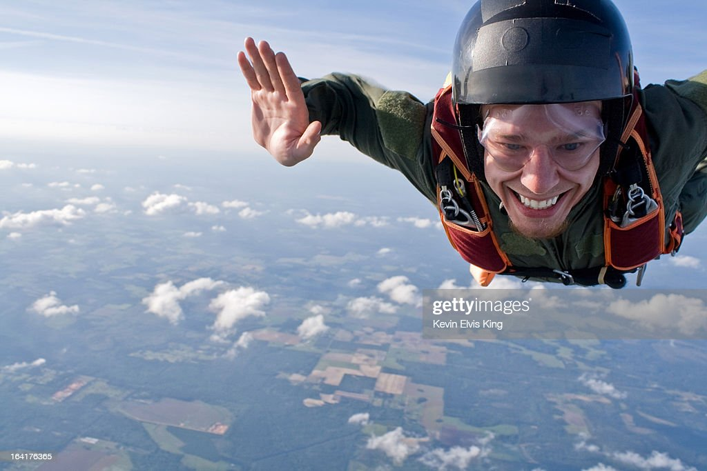 Student Skydiver Smiles in Skydiving Free-Fall : Stock Photo