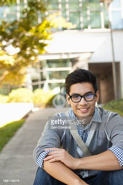 Student smiling outdoors