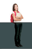 College university student standing isolated on white background in full length. Asian Caucasian xwoman student. Click for more: