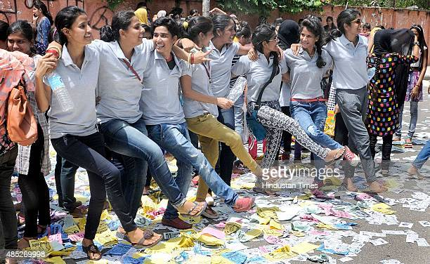 Student supporters perform an impromptu dance while campaigning for their candidates at Rajasthan University Students Union poll on the polling day...