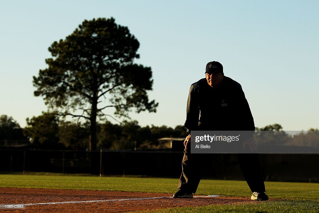 A Student takes his first base position at a simulated game during the Jim Evans Academy of Professional Umpiring on January 28, 2011 at the Houston Astros Spring Training Complex in Kissimmee, Florida. Jim Evans was a Major League Umpire for 28 years that included umpiring four World Series. Many of his students have gone on to work on all levels of baseball including the Major Leagues.