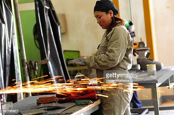 A student takes part in a class to improve welding skills at the women's center of the Technical Education and Skills Development Authority on April...