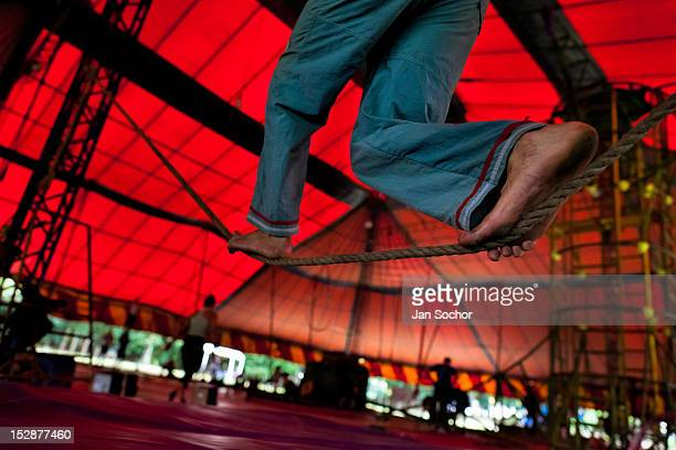 A student trains for the highwire acrobatics act during the lessons in the circus school Circo para Todos on 2 June 2012 in Cali Colombia Circo Para...