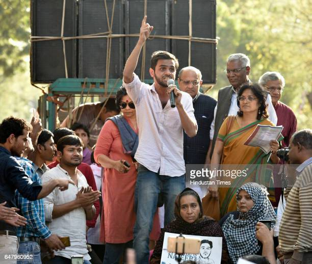 Student Umar Khalid along with political leaders KC Tyagi Sita Ram Yechury and Kanhaiya Kumar addressing the students and teachers during a protest...