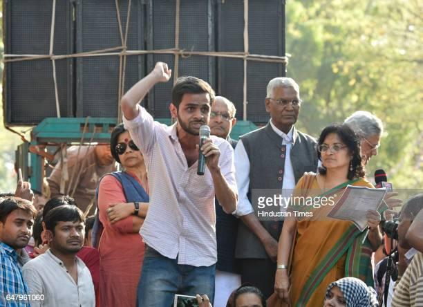 Student Umar Khalid along with political leaders KC Tyagi Sita Ram Yechury and Kanhaiya Kumar addressing the students and teachers during a protest...
