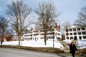 A student walks across Dartmouth College campus February 28 2001 in Hanover NH The small town of Hanover and Dartmouth College has been the site of...