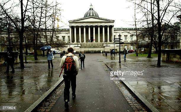 A student walks into the main entrance of the University College London on December 1 2003 in London British Prime Minister Tony Blair faces mounting...