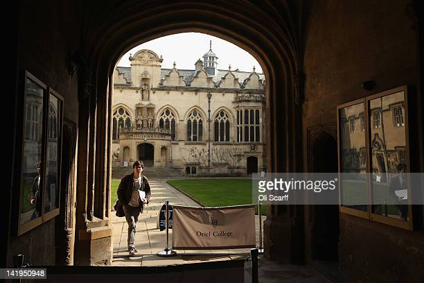 A student walks through Oriel College on March 22 2012 in Oxford England