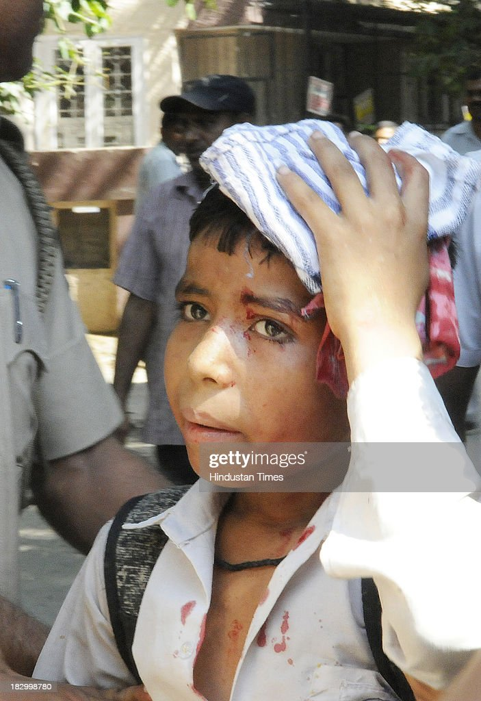 A student who got injured at the Government Boys Senior School, Chittaranjan Park vandalized after students protest against the Principal over injury of class 4th student Roshan Lama on October 3, 2013 in New Delhi, India. 11 year old boy Roshan Lama is battling for life at AIIMS Trauma Centre after a javelin, thrown by a senior student during a practice session, pierced his skull at a school playground in CR Park area of south Delhi two days ago.