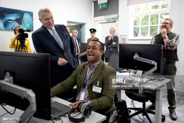 Student William Frederick and the Duke of York at the opening of the Forces Media Academy in Buckinghamshire