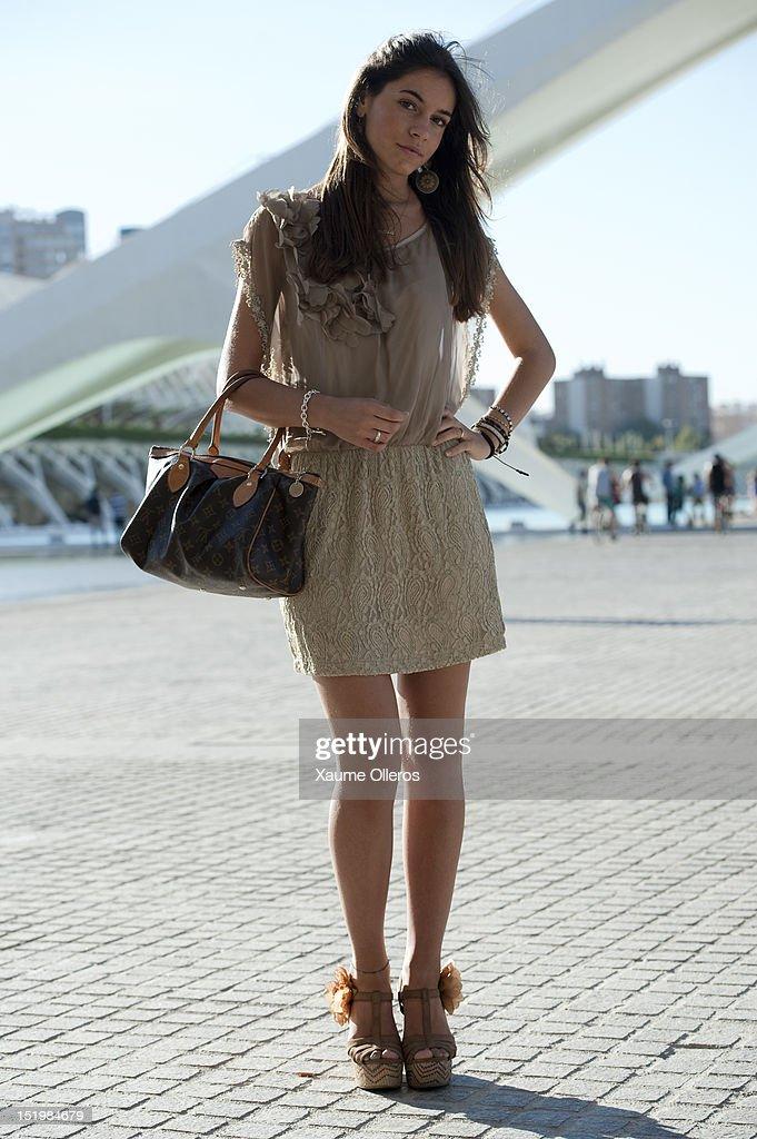 Student Yasmine wears a dress from Mango during Valencia Fashion Week 2012 at Ciudad de las Artes y Las Ciencias on September 14, 2012 in Valencia, Spain.